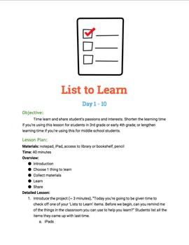 List to Learn, a mini 20% Time Project