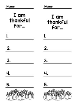 List writing: I am thankful for