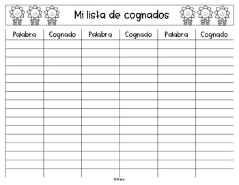 FREE- Mi Lista de Cognados (Formato) / Cognates