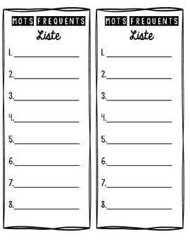 Liste - Mots Fréquents (**French** Printable Sight Word Template)