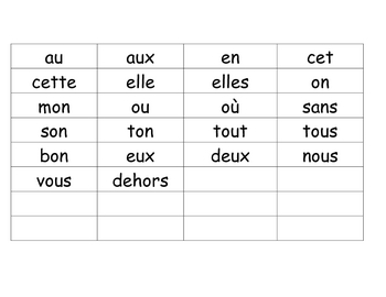 Liste de mots frequents - Daily 5 / 5 au quotidien