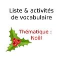 Liste de vocabulaire et activités - Noël