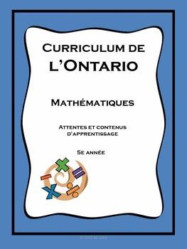 Grille des attentes et contenus - math 5e - Ontario