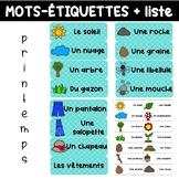 Liste et mots-étiquettes PRINTEMPS