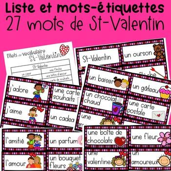 Liste et mots-étiquettes St-Valentin