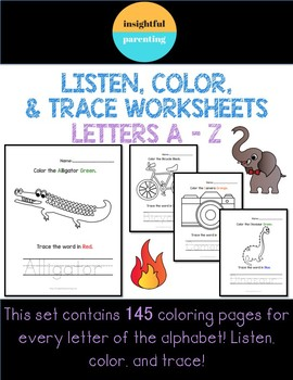 Listen, Color, & Trace Worksheets: A to Z