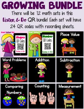 Listen & Do QR Codes - A Growing Math Bundle!
