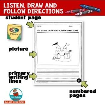 Listen, Draw, Follow Directions | Listening Activity | Literacy Skills