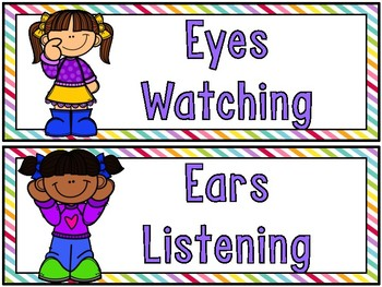 Listen & Learn   Listening Rules Display   Simply Stripes Brights