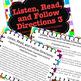 Listen, Read, Follow Directions Fun Game builds critical academic skills  #3