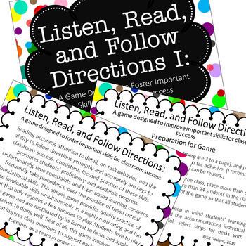 Listen, Read, Follow Directions Fun Game builds critical academic skills #1
