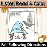 Following Directions Fall | Listen Read and Color
