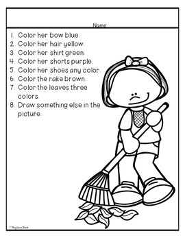 Listen Read and Color - Following Directions