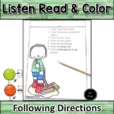 Back to School Following Directions Listen Read and Color