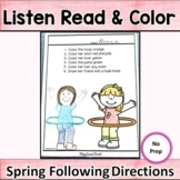 Following Directions Spring   Listen Read and Color