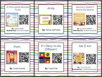 Listen To Read Center QR Code Cards - All About Me & Names Theme