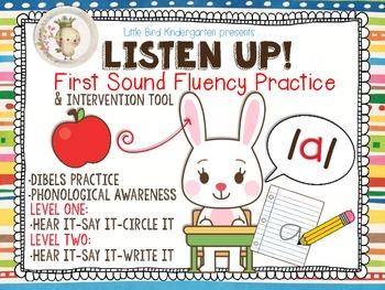Listen Up! First Sound Fluency Practice RTI & DIBELS Intervention Tool