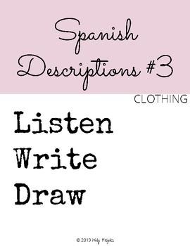 Listen Write Draw - Descriptions #3 - ¿Qué lleva?