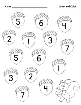 Listen and Color Acorns Number Identification 1-7
