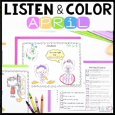 Listen and Color April | Following Directions Activities |