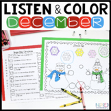 Listen and Color December | Following Directions Activitie