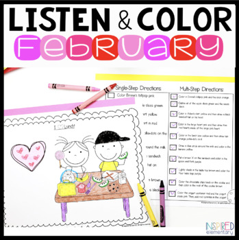 Listen and Color February: A Listening Comprehension Activity/Assessment