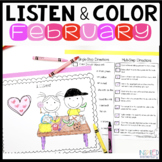 Listen and Color February | Following Directions Activitie