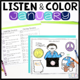 Listen and Color January | Following Directions Activities