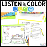 Listen and Color June: A Listening Comprehension Activity/