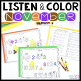 Listen and Color November | Following Directions Activitie
