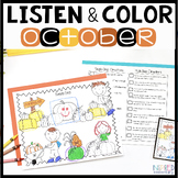 Listen and Color October | Following Directions Activities