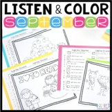 Listen and Color September | Following Directions Activiti