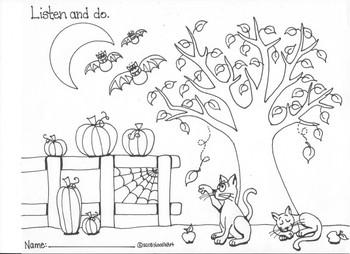Listen and Do Halloween (Fall) Worksheet