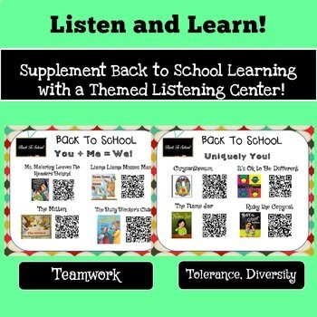 Listen and Learn!  24 Back to School Read-Alouds with QR Codes