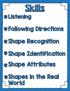 Listen and Learn Activities {2D Shapes}