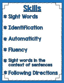 Listen and Learn Activities {Primer Sight Words)
