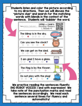 Listen and Learn Activities Reading Fluency {Blends}
