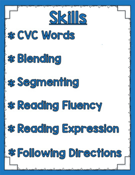 Listen and Learn Activities Reading Fluency {Short Vowels}