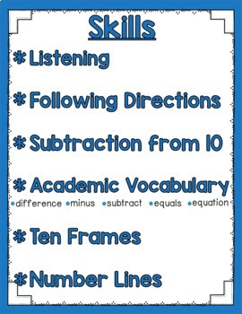 Listen and Learn Activities {Subtraction from 10)