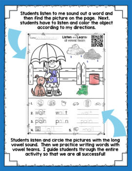 Listen and Learn Activities {Vowel Teams)