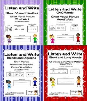Phonics Listen and Write Books 1, 2, 3 and 4 Bundle - Phonemic Awareness