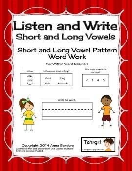 Phonics Listen and Write Short & Long Vowel Patterns Book 4: Phonics Worksheets