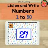 Listen and write numbers 1 to 50 Boom cards