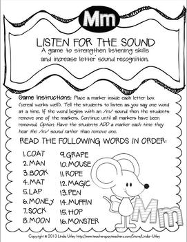 Letter Recognition and Letter Sound Recognition - Letters M-S