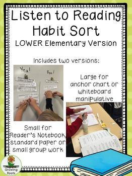 Listen to Reading Habits Sort LOWER elementary version