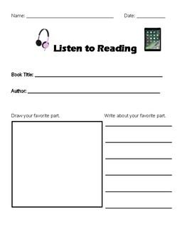 Listen to Reading Literacy Center Worksheet
