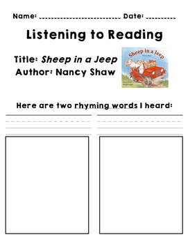 Listen to Reading - Response Sheet - Book Pack