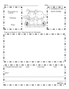 Listen to Reading Response Sheets {Differentiated}