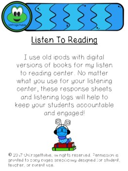 Listen to Reading Response and Book Log