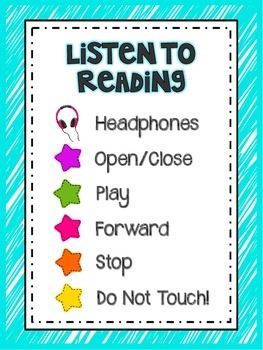 Listen to Reading Station // Instruction Posters & Tub Labels {bright colors}